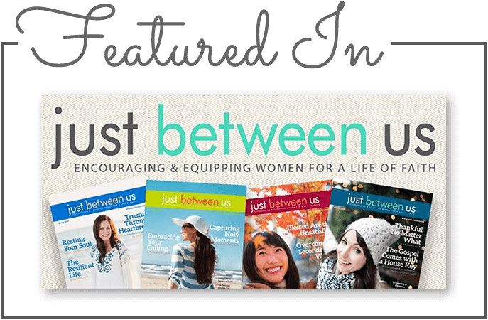 Featured in Just Between Us Magazine graphic